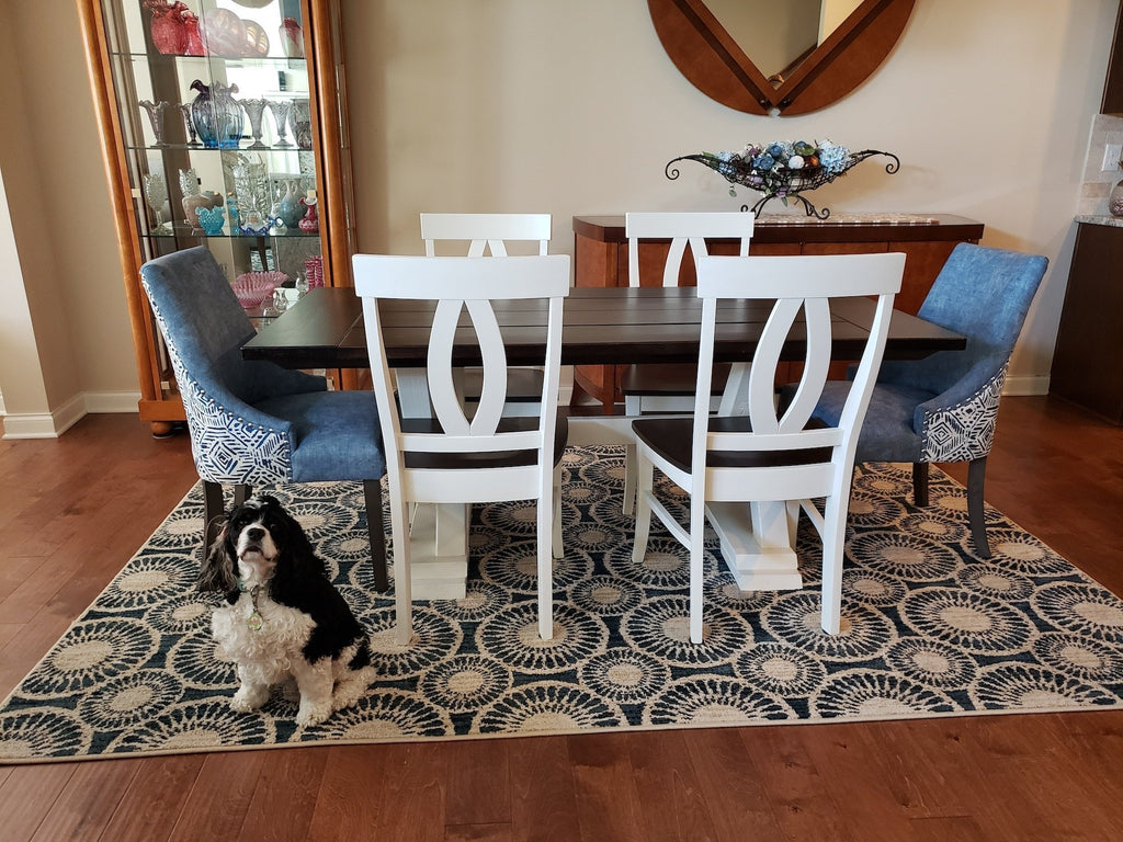 "Elizabeth Dining Chair with Ivory Paint. Also Pictured our 6' L x 37"" W x 30"" H Trestle Table, Boarded Top with Endcaps and No Apron with a Dark Walnut Stain top and Ivory painted base."