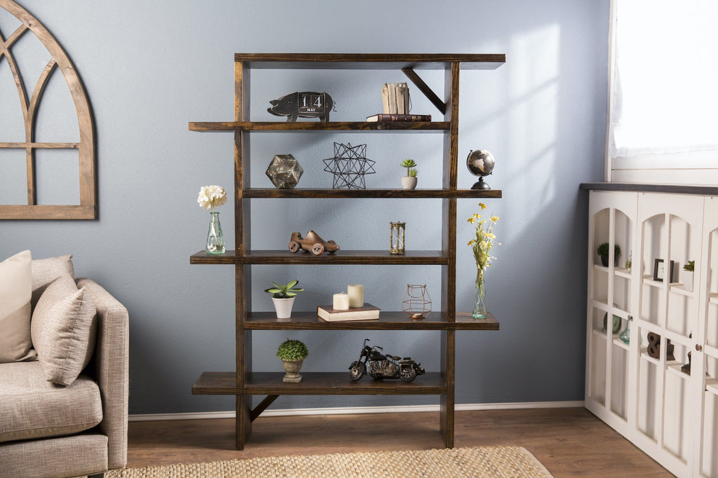 "48"" x 11.25"" x 72"" H Unique Bookshelf in our Tobacco Finish. Handcrafted, solid hardwood bookshelf."