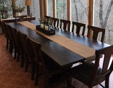Grace Chairs in custom finish paired with a 12' L Heirloom Pedestal Table.