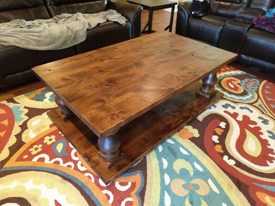 5' L Vivien Turned Pedestal Coffee Table in Tuscany Finish.