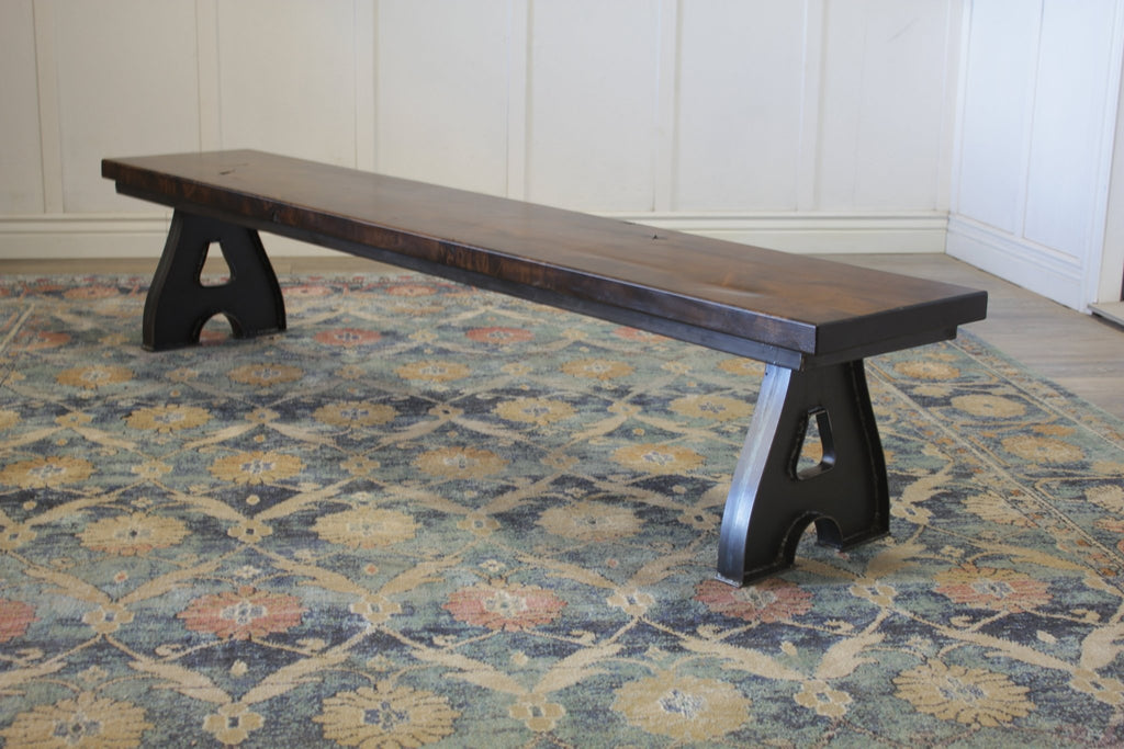Wishbone Industrial Dining Bench