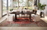 "7' L x 37"" W Factory Metal Wishbone Table with top knots filled in Tobacco Finish. Seating includes the Brady Slipcover chairs and Josiah chairs. Rug featured is our 8' x 12' Selah."