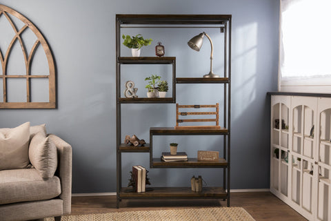 Steel and Solid Hardwood Arlo Shelving Unit in Tobacco Finish