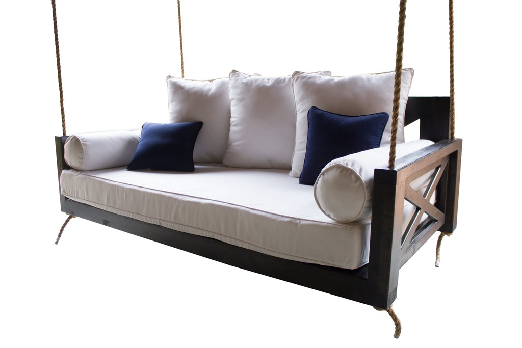 Finley Wood Porch Swing Bed Daybed, Twin Size, Charred Ember Finish.
