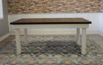 Farmhouse Table - Hardwood in Tobacco Finish with Boarded Look / Grooved top and Ivory Painted base.