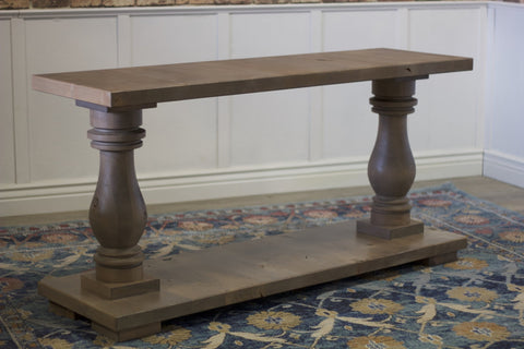 5' L Vivien Turned Pedestal Console Table in Barn Wood Finish.