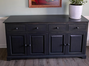 "Deep Grey finish on the 70"" Wide, 18"" Deep, 36"" Tall Farmhouse Buffet"