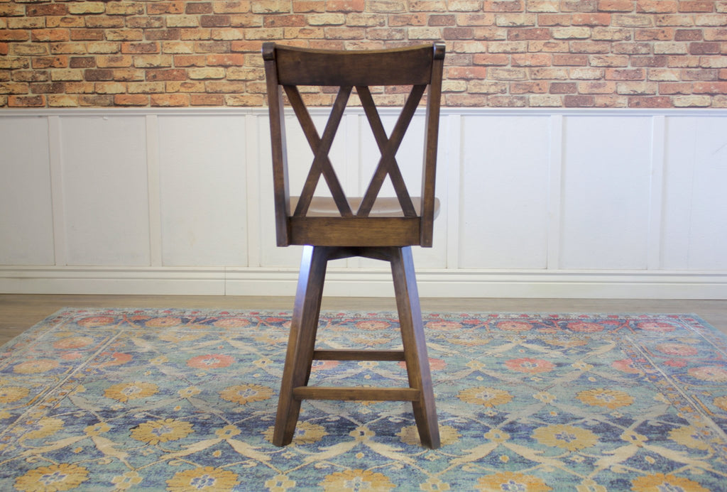Double X-Back Swivel Stool, counter height, in Tobacco Finish