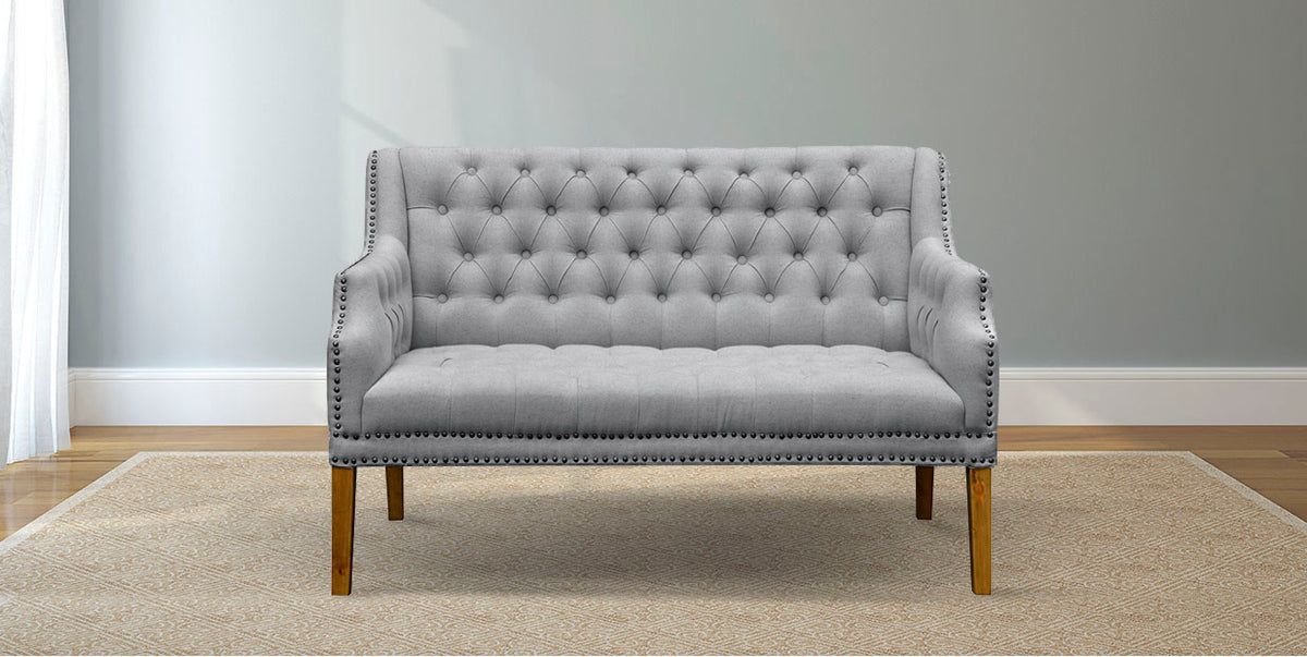 Picture of: Dove Grey Linen Tufted Settee With Nailhead Trim By James And James James James