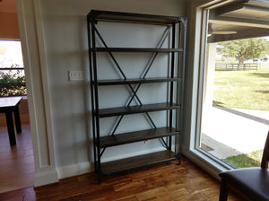 "Custom Factory Metal Bookshelf at approx. 81"" T x 48"" W x 11.25"" D with 6 shelves and custom book end bar."