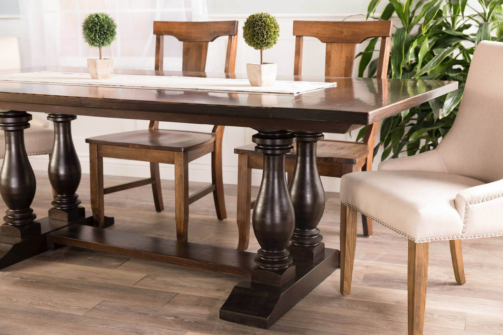 Grace solid wood hand finished dining chair, pictured with our Heritage Trestle Table and Ashford Linen Dining Chairs.