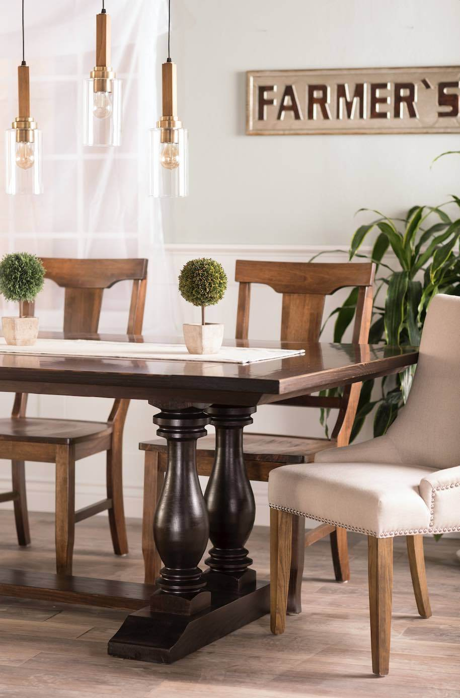 Grace solid wood hand finished dining chair, pictured with our Heritage Trestle Table, Ashford Linen Dining Chairs, and Rustic Wood Pendant Chandelier.
