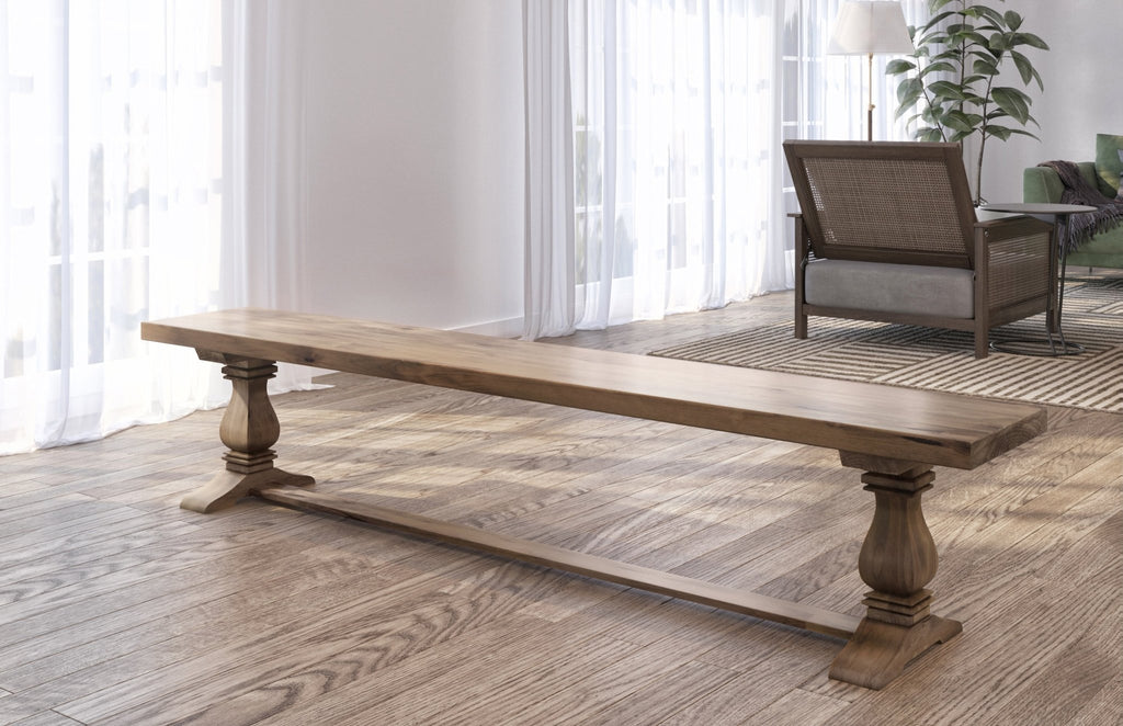 Heirloom Pedestal Bench in Harvest Wheat finish