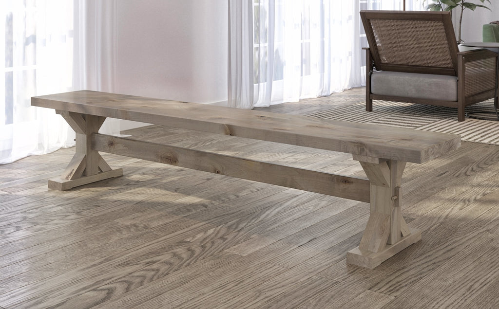 Trestle Bench in Barn Wood finish