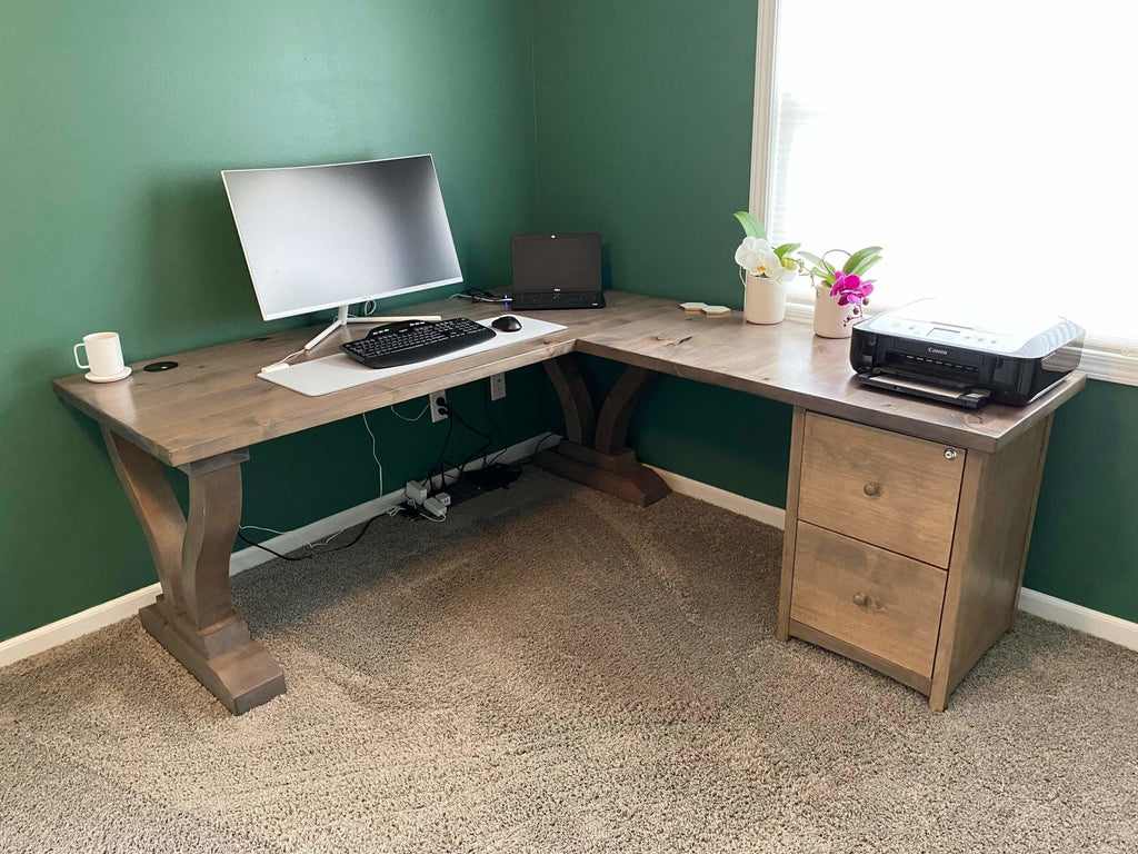 Vera Corner Desk with Filing Cabinet in Barn Wood Finish with a 2 USB / 2 AC Power outlet feature added
