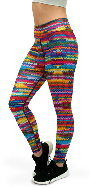 Colorful Knitted Pattern Yoga Pants