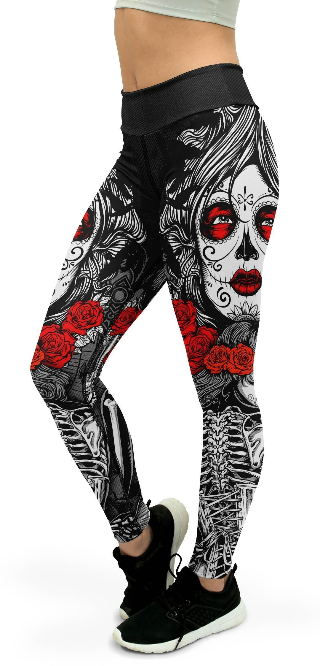 Skeleton Sugar Skull Yoga Pants