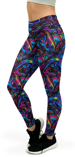 Psychedelic Neon Paint Yoga Pants