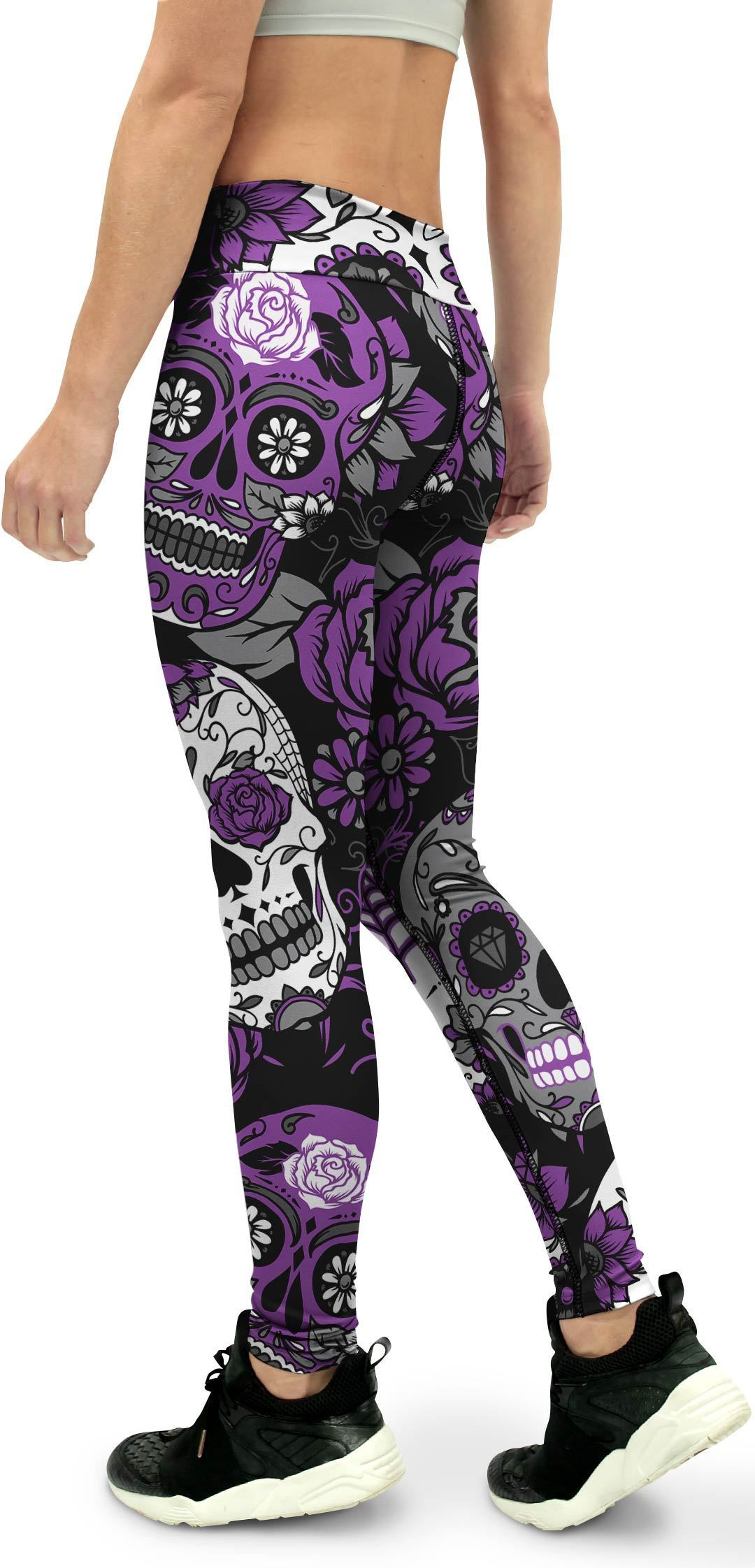 Purple Sugar Skull Yoga Pants