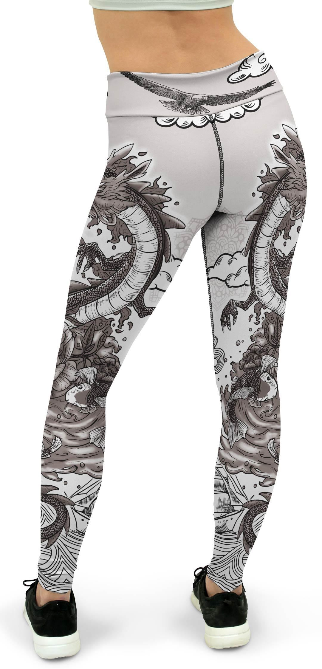 B&W Tattooed Dragon Yoga Pants