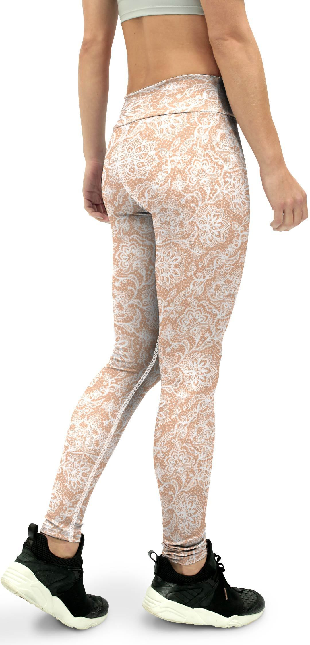 White Faux Lace Yoga Pants