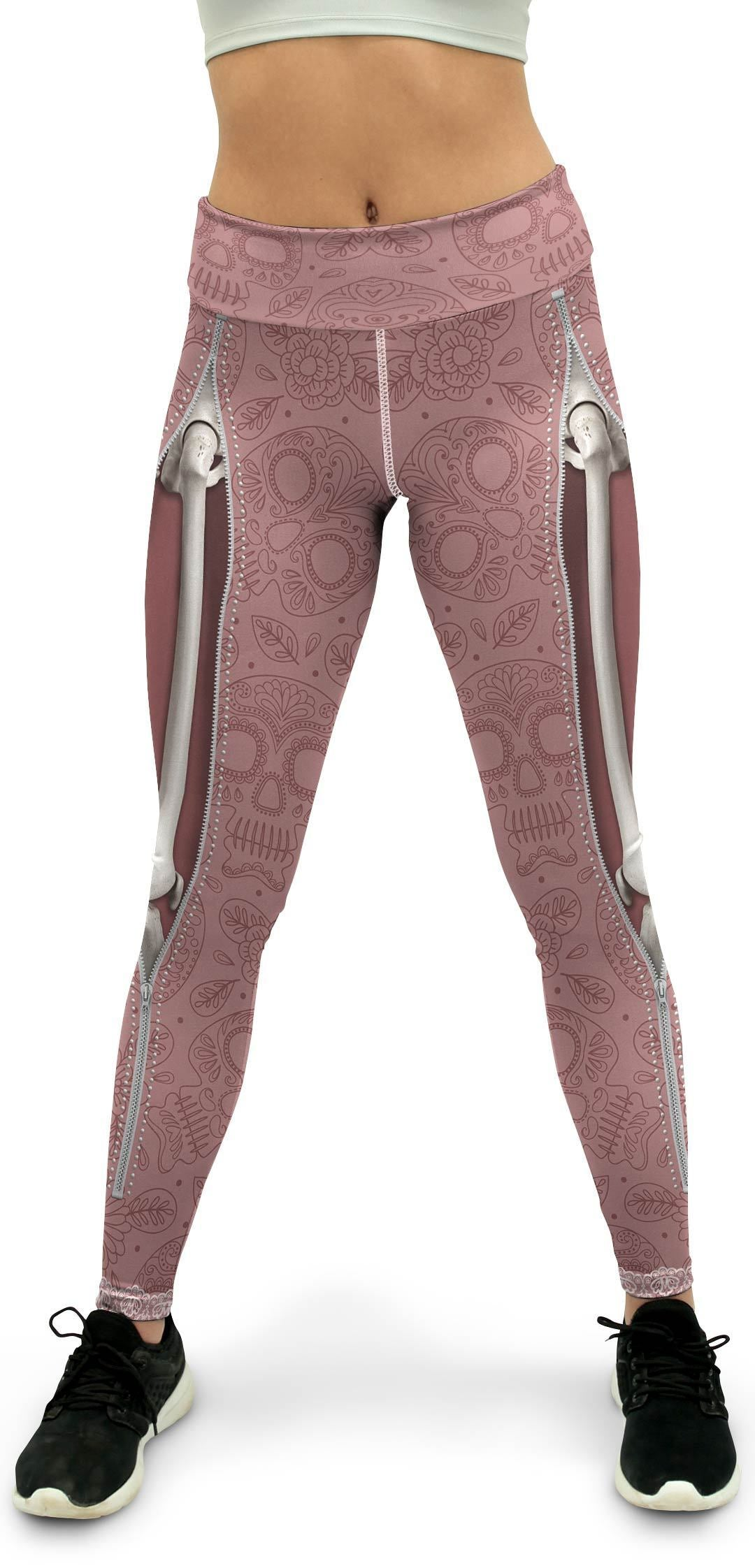 Realistic Skeleton with Zipper Yoga Pants