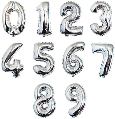 2pcs 16/30/40 inch Silver Number Foil Helium Balloons