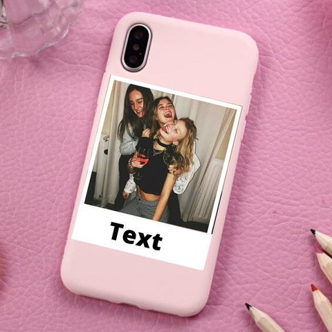 Custom Personalized Polaroid Photo Phone Case For iPhone (Pink)