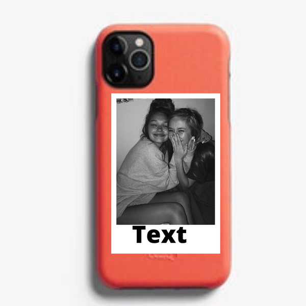Custom Personalized Polaroid Photo and Text Phone Case For iPhone (Peach)
