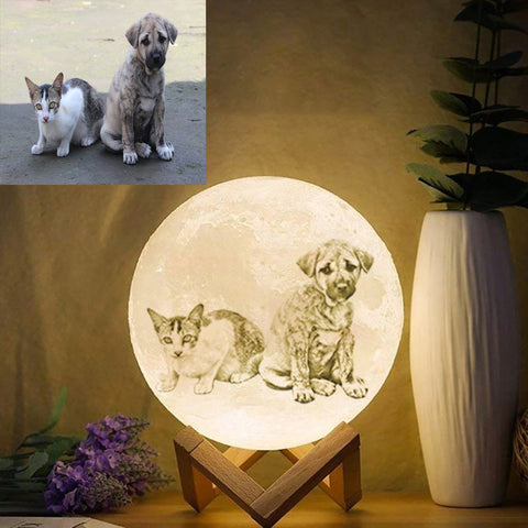 Personalized Photo Moon Lamp For Pets Lover