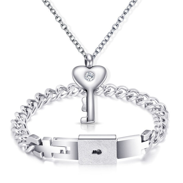 Heart Lock Bracelet And Key Necklace For Couples