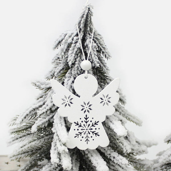 6Pcs White Wooden Tree Deer Snowman Christmas Decorations Pendants Ornaments for Xmas Tree
