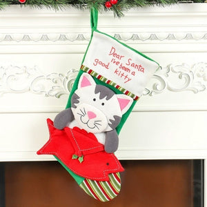 NEW Cute Cat Dog Christmas Stockings Socks Christmas New Year Candy Bag Gift Bags Kids Christmas Decorations