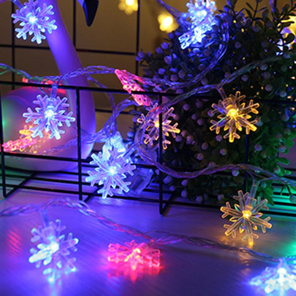 Snowflakes LED Garland String Fairy Lights Hanging Ornaments Christmas Tree Party Home Decor