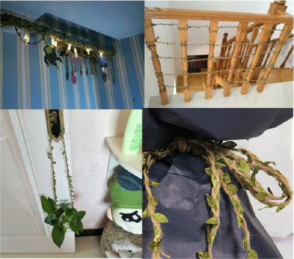 Green Leaves Weaving Hemp Rope DIY Christmas Wedding Birthday Wedding Boho Theme Party Decoration