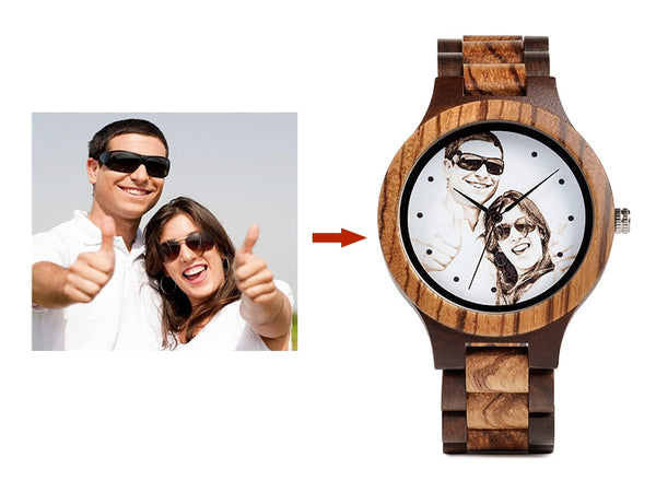 Personalized Engraved Wooden Quartz Casual Wristwatch and personalized box