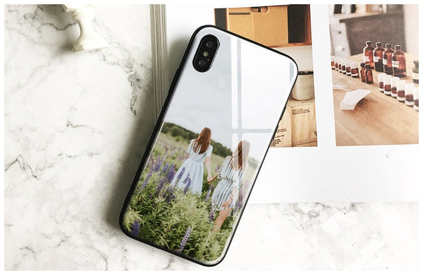 DIY image Customized picture Custom made Tempered Glass soft Phone Case Cover For Apple iPhone 6 6s 7 8 Plus X XR XS 11 PRO MAX