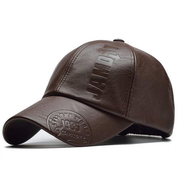 Adjustable Leather Baseball Cap For Men