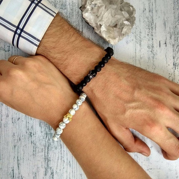 His and Hers Bracelets | King and Queen Crown Bracelets for Couples [Set of 2]