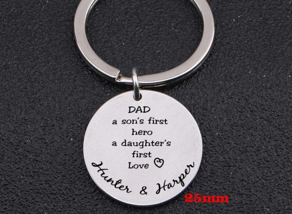 Two Names Custom Father Engraved Keychain