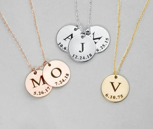 Personalized Initial Letter & Date Necklace