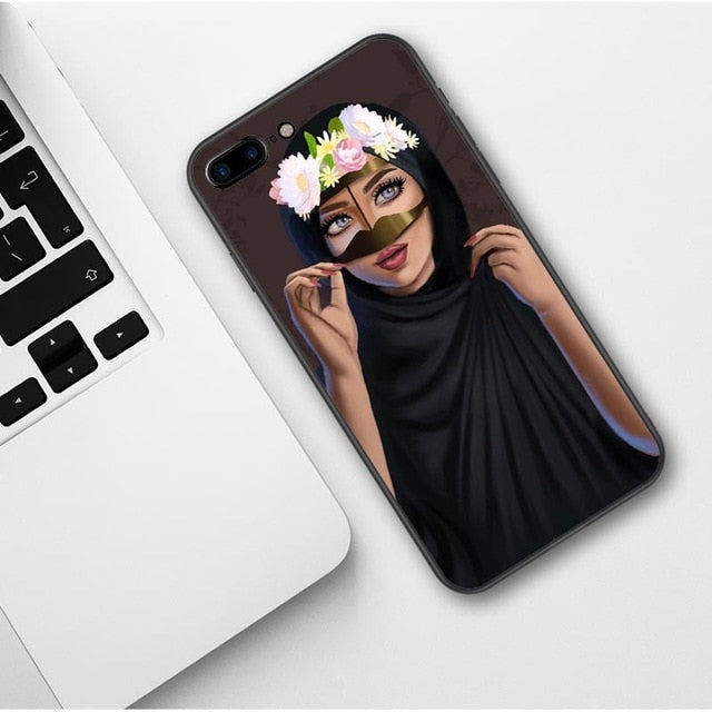 Woman In Hijab with cute Snapchat Filter iPhone Case