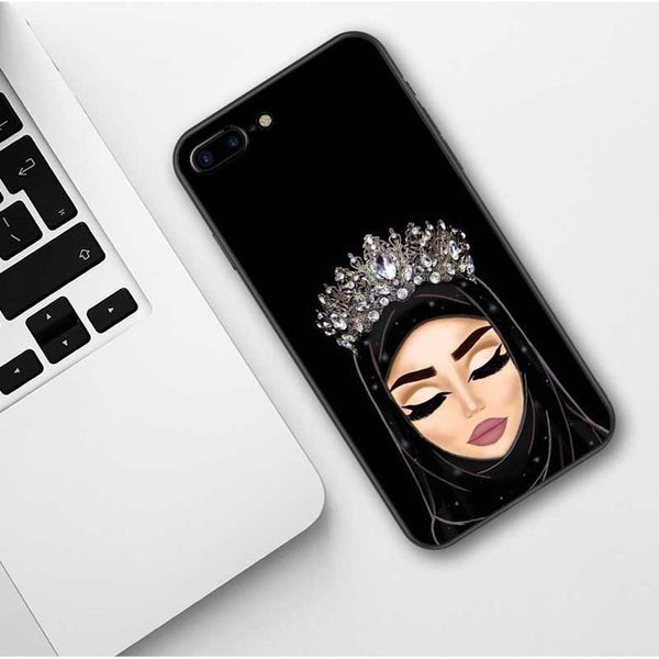 Woman In Hijab Face Muslim Islamic Girl with Crown iPhone Case