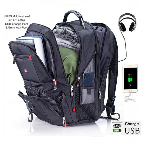 Multifunctional Rucksacks Waterproof USB Charge Port School Bag College Bag Hiking Travel bag