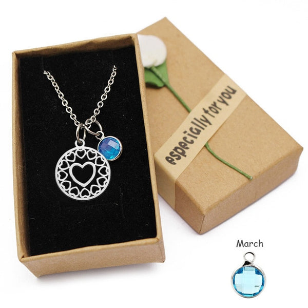 Love Heart Mom Crystal Birthstone Pendant Necklace