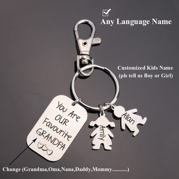 Customized Kids Name You Are Our Favourite Grandpa Keychain