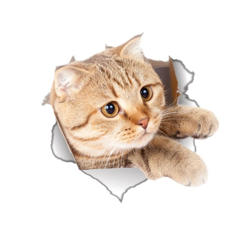 Vinyl waterproof Cat Dog 3D Wall Sticker