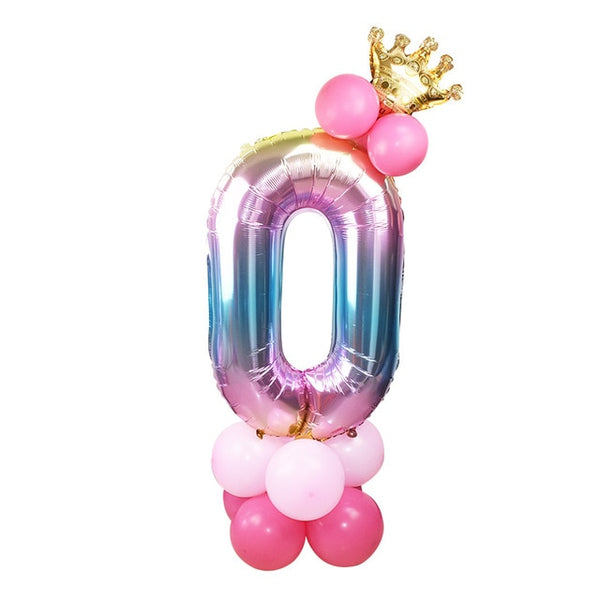 17 Pcs/Set 32 inch Rainbow Foil Number Balloons with Crown