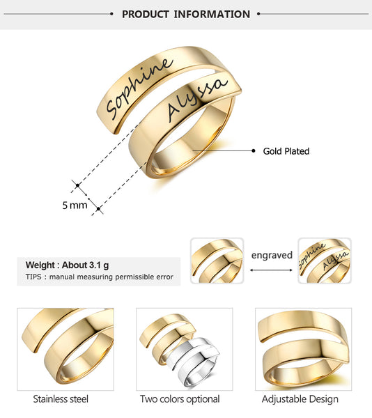 Customized Engraved Name Stainless Steel Adjustable Rings