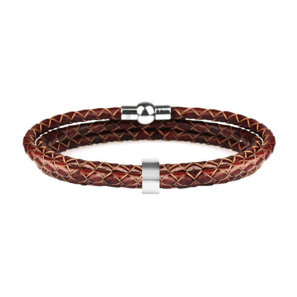 Genuine Leather Personalized Stainless Steel Bracelets